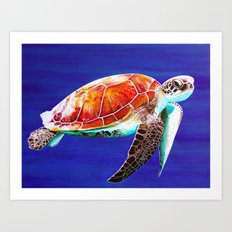 Textured Seaturtle Acrylic Painting Art Print