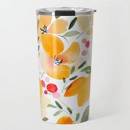 Yellow and Orange Floral Travel Mug