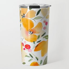Yellow and Orange Floral Travel Mug