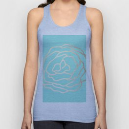 Flower in White Gold Sands on Tropical Sea Blue Unisex Tank Top