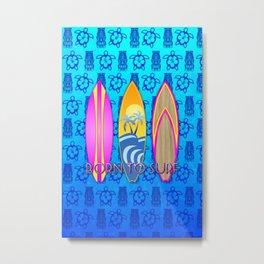 Pink Born To Surf Blue Tiki Mask Metal Print