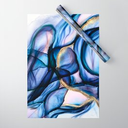 Mesmerize - Indigo, Cerulean, and Pale Pink Abstract Wrapping Paper