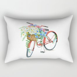 Vintage Red Bicycle with Flowers Rectangular Pillow
