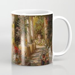 Amalfi Coast Campania, Italy Garden Terrace Vineyard and Flowers landscape seaside painting Coffee Mug