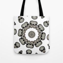 Creepy Human Skull Mandala Tote Bag