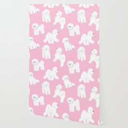 Bichon Frise Pattern (Pink Background) Wallpaper