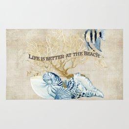 Indigo Ocean Sea Shells Angelfish Coral Watercolor Artwork Rug