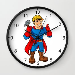 Superhero handyman guy. Wall Clock