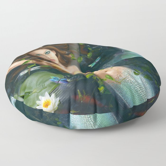 Beautiful Fantasy mermaid in lake with lilies Floor Pillow