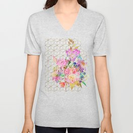 Modern watercolor floral and gold geometric cubes Unisex V-Neck