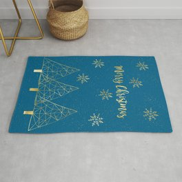 Merry Christmas Blue Gold Rug