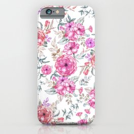 Modern Bohemian pink coral lavender watercolor flowers iPhone Case