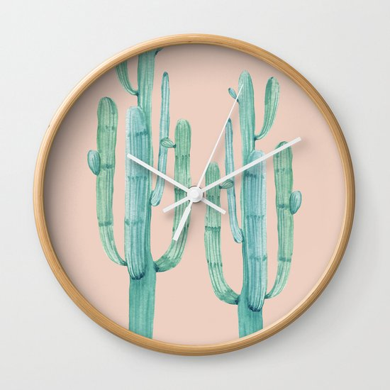 Besties Cactus Friends Turquoise Coral Wall Clock By