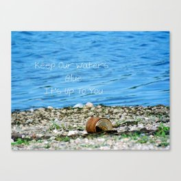 Rusty Can and Blue Water Canvas Print