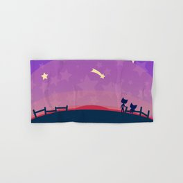 Starry sunset seen by cats Hand & Bath Towel