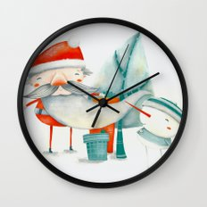 Santa and friend Wall Clock