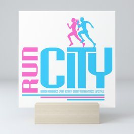 Run city Mini Art Print