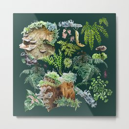 Fungi & Ferns Green Metal Print