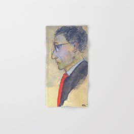 sketch of a man with red tie Hand & Bath Towel