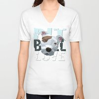 pit bull V-neck T-shirts featuring Pit Bull by Benjamin Ring
