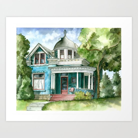 The House with Red Trim Art Print