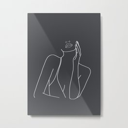 Minimal Line Art of a Woman Metal Print