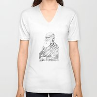 darwin V-neck T-shirts featuring Charles Darwin by Noelle Fontaine