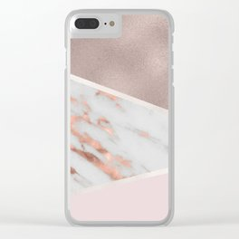 Lilac Lemonade - rose gold marble Clear iPhone Case