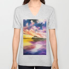 Drama Drama Drama, Cloudy Sky, Colorful Sunset, Beach Sunset Unisex V-Neck