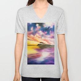 Drama Drama Drama, Cloudy Sky, Colorful Sunset, Beach Sunset Unisex V-Neck