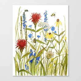Garden Flower Bees Contemporary Illustration Painting Canvas Print