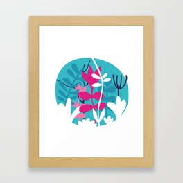 Flower Bouquet in Blue and Pink Framed Art Print