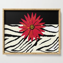 Animal Print Zebra Black and White and Red flower Medallion Serving Tray