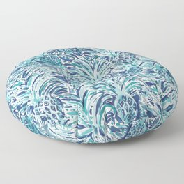 PINEAPPLE WAVE Blue Painterly Watercolor Floor Pillow
