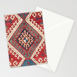 White Hooked Diamond // 19th Century Authentic Simple Colorful Aztec Accent Pattern Stationery Cards
