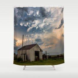August Eve - Storm Sky Over Old Barn in Oklahoma Shower Curtain