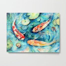 Watercolor Koi Fish in Lily Pond Impressionist  Metal Print