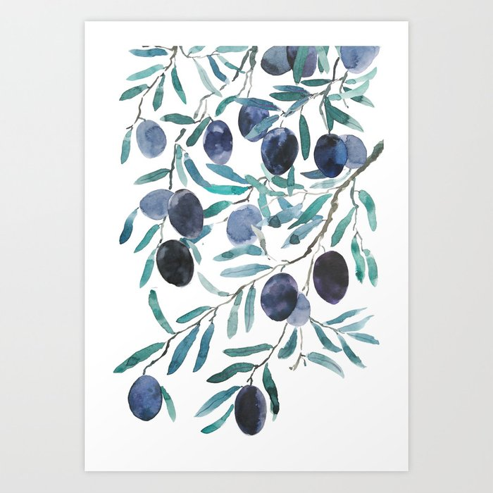 black olive watercolor 2018 Art Print