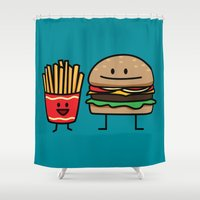 french fries Shower Curtains featuring Happy Cheeseburger and French Fries by Berenice Limon