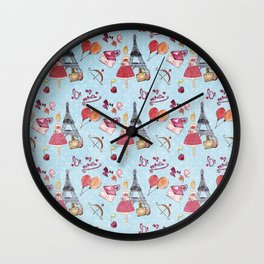 Love and Valentine in Paris France - Elegance Shopping Girl in pink on blue polkadots Wall Clock