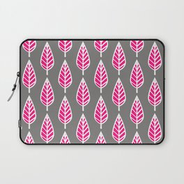Beech Leaf Pattern, Fuchsia Pink and Silver Gray Laptop Sleeve