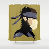metal gear solid Shower Curtains featuring Paramedic Solid Snake by DonCorgi