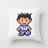 earthbound Throw Pillows featuring Ness (Pajamas) - Earthbound / Mother 2 by Studio Momo╰༼ ಠ益ಠ ༽