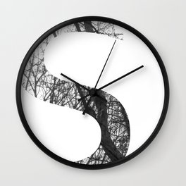 Minimal Letter S Print With Photography Background Wall Clock