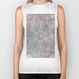 floral paisley star in light pink and green Biker Tank