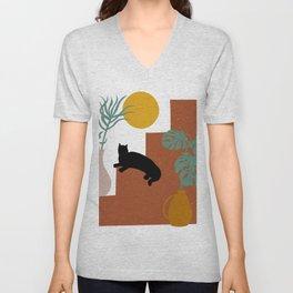 Mediterranean Steps, Plants, Sun and Moon, Cat Art, Geometric Prints Unisex V-Neck