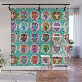 funny colored owls on a turquoise background Wall Mural