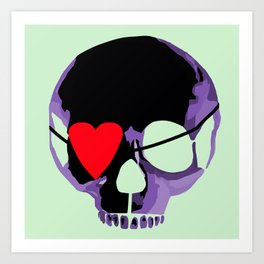 Purple skull with heart eyepatch Art Print