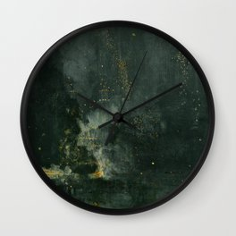 Nocturne In Black And Gold The Falling Rocket By James Mcneill Whistler | Reproduction Wall Clock