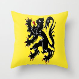 Flag of Flanders - Belgium,Belgian,vlaanderen,Vlaam,Oostende,Antwerpen,Gent,Beveren,Brussels,flamish Throw Pillow